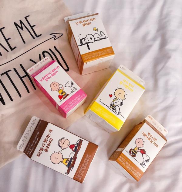 #korea 🇰🇷#gs25 超商美食🥤 史努比聯名牛奶🥛超可愛♡♡♡  🔸史努比牛奶 口