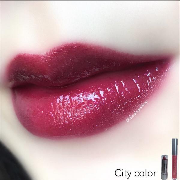 #citycolor絢耀派對 魅力唇彩組 (夜魅紅唇膏+絢耀珠光唇蜜) - 第一張有加唇蜜,第二張無