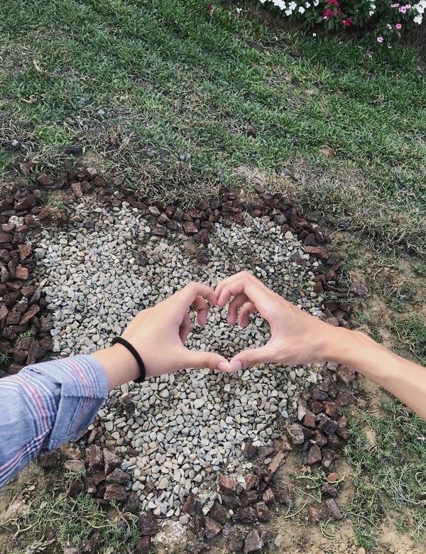🍂豐原葫蘆墩公園🍂 意外發現石頭排成的愛心💟 照片二的新娘真的好美 我原本以為是顆聖誕樹🤣�