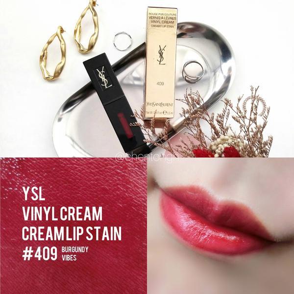 YSL唇彩👉右滑詳細試色 我的第一支YSL是這濃烈的酒紅色 ▪VINYL CREAM 奢華緞面漆光