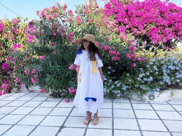 Santorini與聖托里尼的陽光和花