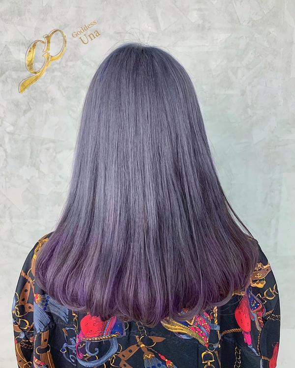 ⋞Una特調⋟灰藍配上裙擺染紫灰 💙🖤💜🖤 讓頭髮像是藝術品 不管什麼造型都適合的髮色才合格