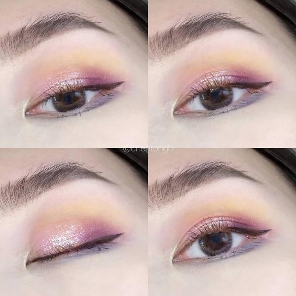 EOTD👀全臉妝與步驟右滑👉 用NYX畫粉紫色系的彩色妝容💜 新的隱眼顏色很喜歡~自然混血感�