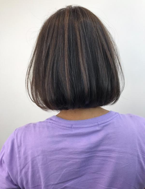短髮內彎燙&挑染細線條內彎燙-擔心不好整理嗎?最佳選擇~吹乾即可。 (👉before) 挑染線條-