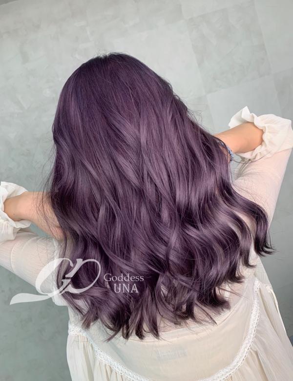 ⋞深紫灰⋟ 除了藍灰 紫灰褪色也是灰灰霧霧的唷 不過還是必須乖乖使用矯色洗髮精💜 紫色台中 紫色的