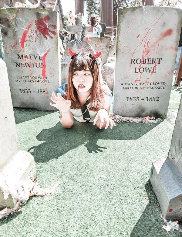 墓碑鎮(六福村)🎃🧟♀️☠👻 - 🔎 六福村主題遊樂園 🔎 墓碑鎮骷髏禁地 📬 新竹縣