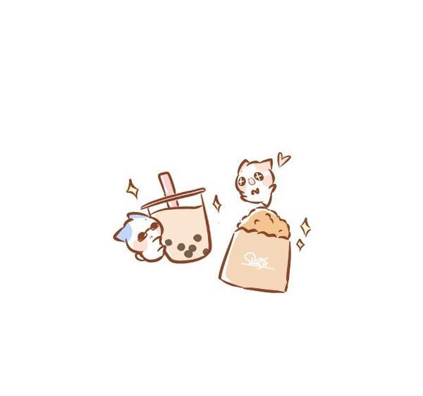 珍奶配雞排,真的是絕配💕 - - #pinkcat小儀#圖文#插畫#粉紅貓#電繪#食物插畫