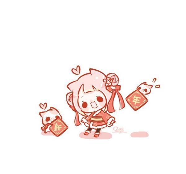 新年儀儀💕 過年前裝扮一下😆 . . #pinkcat小儀#圖文#插畫#粉紅貓#電繪#新年#過年