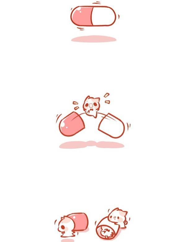 吃藥~~😆   #pinkcat小儀#圖文#插畫#粉紅貓#電繪#生活