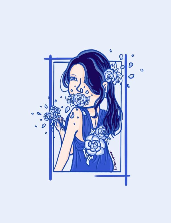 Blueming💙綻藍#art #illustration #blue #IU #song #kp