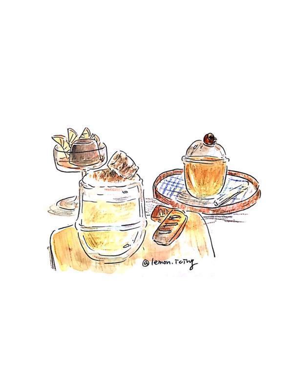 《Fu奶茶》 上班前po一張之前去福奶茶畫的圖 是在店裡的畫本上完成 (我好像畫在第7還是8本,上面