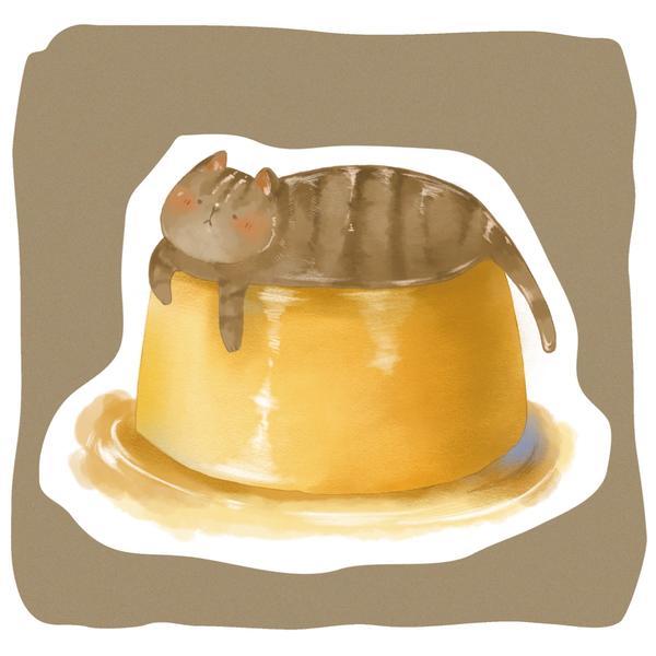 焦糖貓咪布丁🍮✨✨嚴禁搗碎食用哦! . .  —收錄在《2020貓咪食物月曆》  如果有喜歡我的插