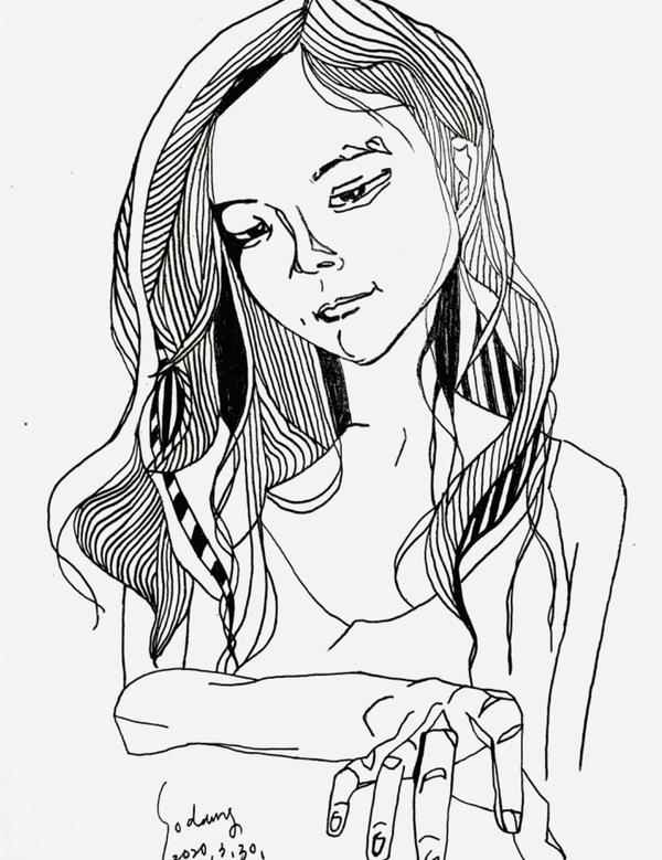 賣畫謀生3/指定客製系列/  很喜歡她的酒窩 和自信的眼神(有一種我就是最強的,感覺) 可惜我畫功不