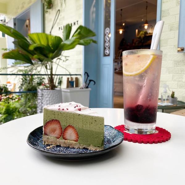 天母有質感甜點店「愜意 Pleasant Cafe」🍰 抹茶草莓生乳酪,170元 🍹 桑椹果粒氣