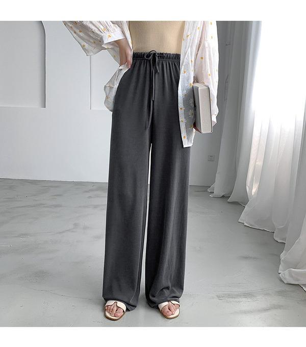 高腰闊腿垂感拖地褲百搭鬆緊休閒褲超值得入手的一款修閒褲 簡直是腿租、腿不直的救星 高腰設計當然少不了