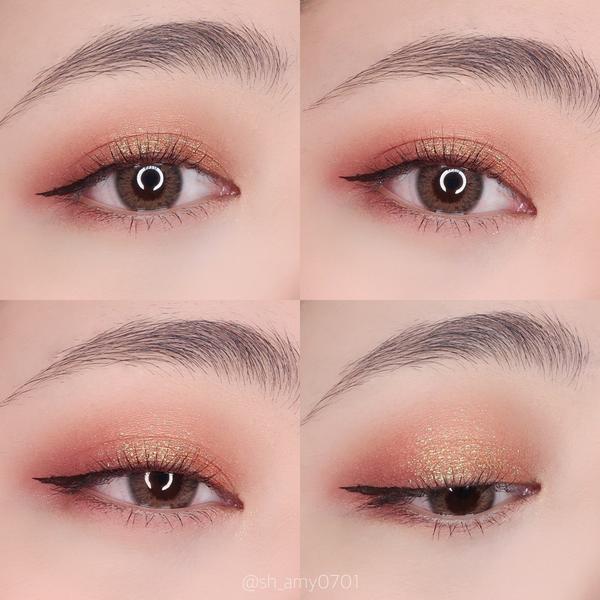 她素Tasu-琉美沙漏zT05美翻天的一顆亮粉單顆眼影。 這顆是橘紅底色,有金綠色的細小亮粉。 這