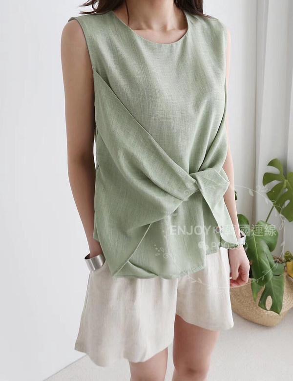 ENJOYin東大門🇰🇷린넨리본나시린넨리본나시🌸 棉麻料立裁扭結背心上衣 優雅又知性的設計風