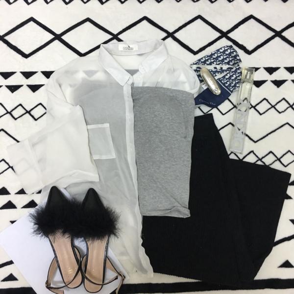 春夏衣櫃白色透膚襯衫 平口bra top 黑色長裙 Dior絲巾 DKNY women