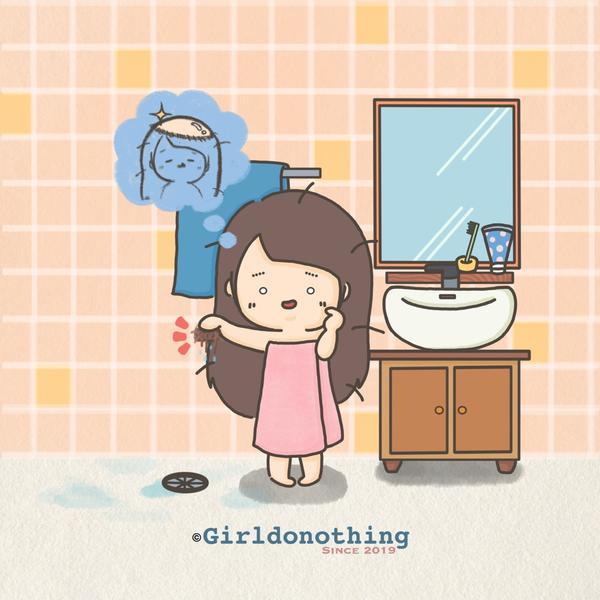 [我的頭髮啊~~~]每次洗好頭、清理水洞時, 看到滿滿的落髮都覺得自己要禿了😱  #米蟲女孩