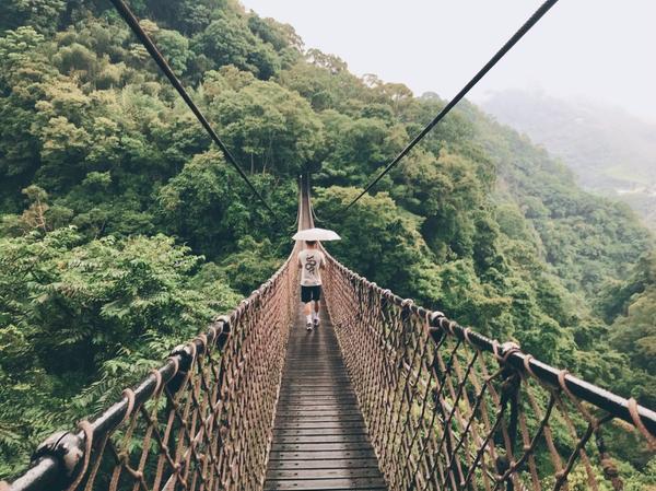 桃園復興︱小烏來天空步道吸享受芬多精經過蜿蜒山路終於抵達小烏來天空步道,沿著木棧道慢步道售票處,假日