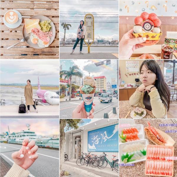 色調分享|旅遊排版色調(ᴅɴɢ)一個人沖繩6天五夜說走就走的旅行 自己拍照排出的版面 分享給大家唷�
