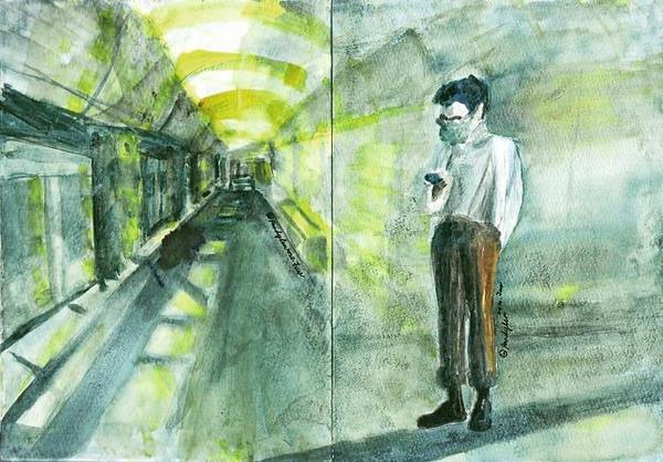 捷運環狀線/一個人的輕旅行/用畫筆隨手記錄下我的觀察又到了周末輕旅行的時光,決定搭乘充滿太陽色的環狀