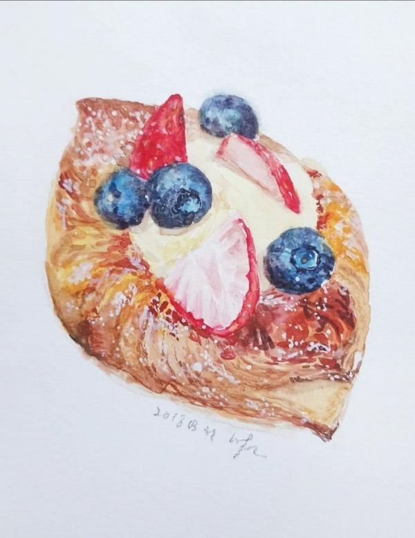 水果酥餅水彩插畫做酥皮麵團麵包師要用手一層層折疊餅皮,同水彩其中一種技巧疊色法一樣。鋪一層底色再向上