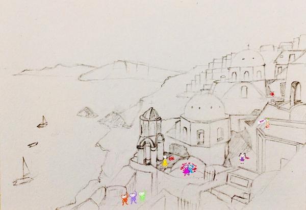 聖托里尼島的鉛筆搞,可愛的插畫寶貝在上面開心地玩耍。#hostoryfun#characterill