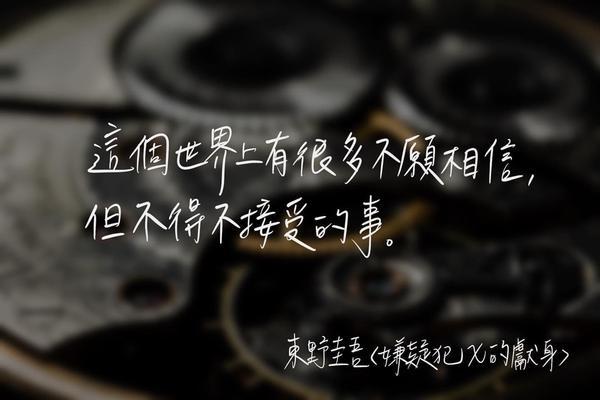 東野圭吾經典之作《嫌疑犯X的獻身》東野圭吾的經典書籍《嫌疑犯X的獻身》推出了15週年全新譯本!  我