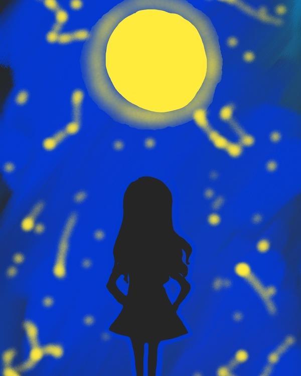 #illustration你承諾的月亮還是沒有出現,而我無眠。或者,我只是衣單天寒地,替你多愛了一夜