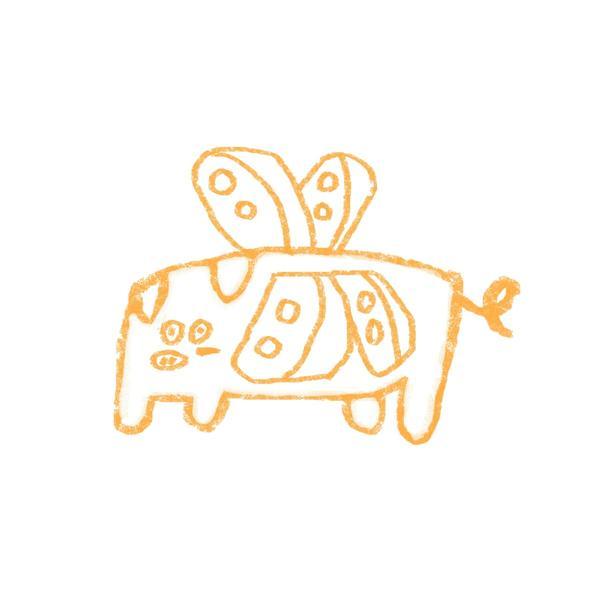 ::蝴蝶豬 :: 先說我沒別ㄉ意思喔...:p#奇怪のZOO#插畫#搞怪#動物