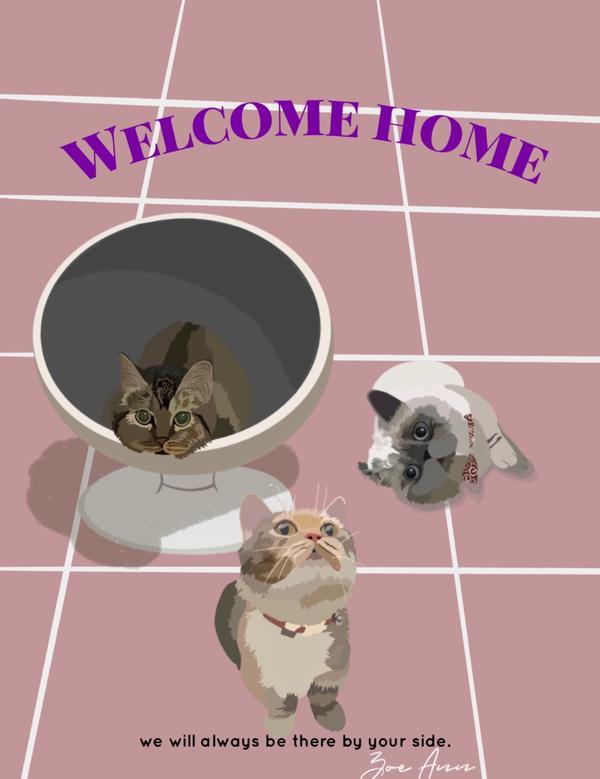 一回家 你最期待看到?這次是幫朋友畫的貓~ 場景是一回家打開門 就看到寶貝們在門口迎接 #插畫#電繪