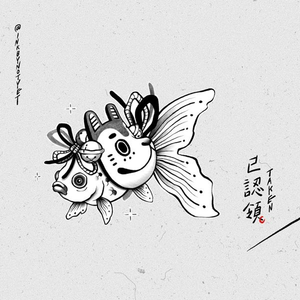 插畫認領圖 — 金魚犬長子/偶爾還是會畫一畫日式的東西/  instagram @inkbynoty