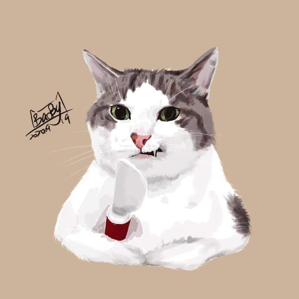 《插畫》要罐還是要命?「這是搶劫!肉泥留下!」甘願被你搶✨✨趕快搶我😻如自認你家貓貓很搞笑的也可以