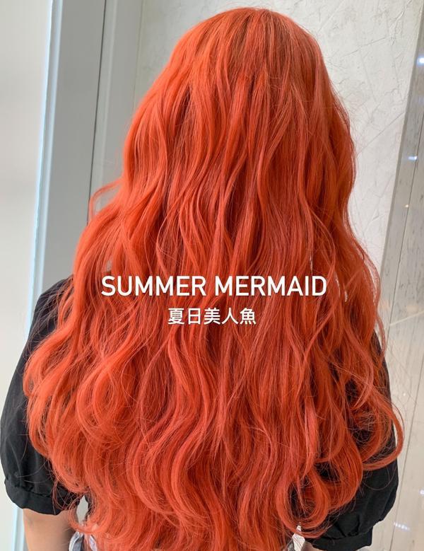 .Summer  Mermaid. 染一個美人魚的髮色 但不是普通的紅 而是橘紅色🧡❤️🧡❤️