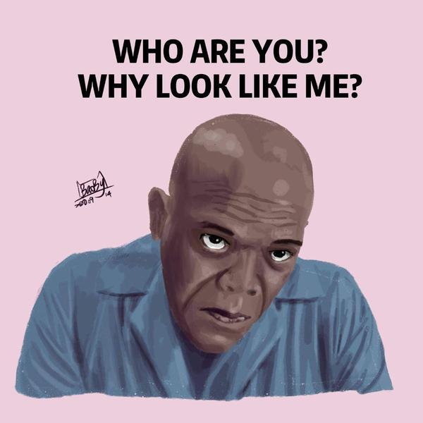 《插畫》誰長得這麼像山繆傑克森!?#samuelljackson「Whoareyou?Whylook