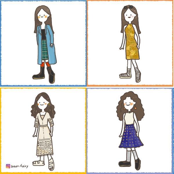 【插畫穿搭】我奇怪我驕傲 🦚從在學時期就很喜歡穿些不一樣的,很愛翻媽媽的衣櫃,雖然會被ㄉㄧㄤ說很像