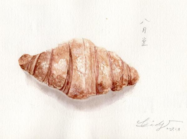 """水彩插畫-可頌麵包,你知道可頌的故事嗎?可頌的法文為croiss,是""""彎月""""的意思。&n"""
