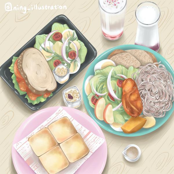 #插畫。台中文青早午餐「日起食書」今天跟大家推薦一家台中早午餐是位於台中北屯區的「日起食書」聽店名就