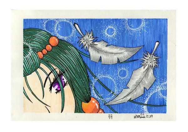 【插畫×手繪×羽】作品名稱:羽尺寸大小:10.5×16.5公分作品闡述:羽毛隨風自由飛舞,光輝閃耀美