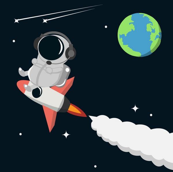 #繪圖日常 太空人出任務去嘍~收到情報🔎看哪顆星球又需要我了!🚀 工具:Adobe illust