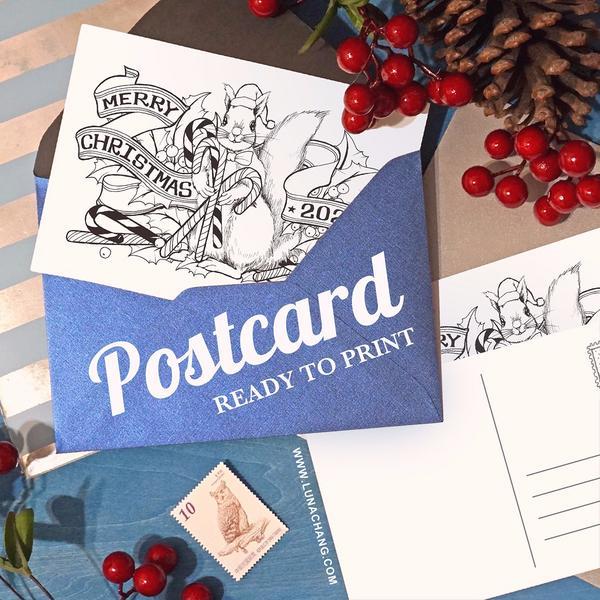 【小畫家日常 05】聖誕賀卡DIY・大家一起來填色~以前每到聖誕節總會親自設計一張聖誕卡片寄給久未聯