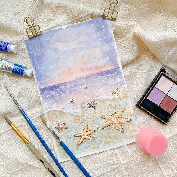 水彩課程後記:海星看星星今天上完了海星看星星的課程,冷颼颼的天氣很適合在室內畫畫水彩。大家都是水彩的