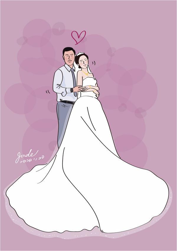 婚紗似顏繪💖 婚姻,真的是一種再真實也不過的歷鍊⋯ #鍛鍊彼此的求生意志🤣⋯  從夢幻泡泡⋯走到