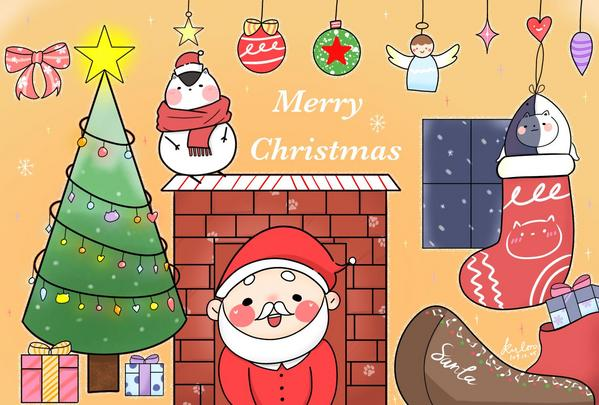 聖誕節🎄🎁🎅難得沒有遲到的賀卡😂 祝大家聖誕節吃飽飽、睡好好、早日脫離單身狗(🤭