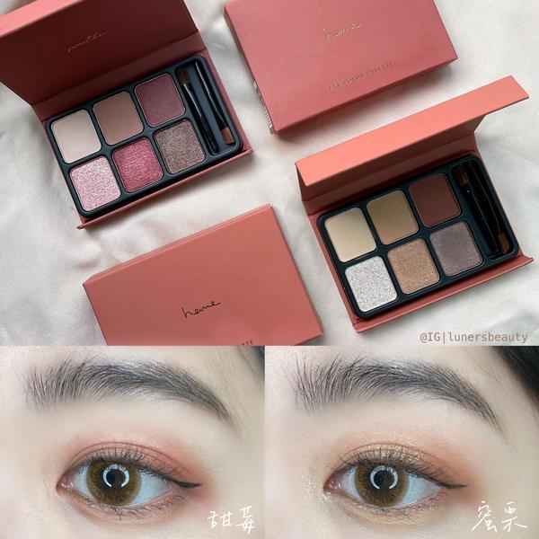 ❣️heme六色眼影盤新色分享❣️  這次以「冬日乾燥果乾」為主題推出兩種色系 整體粉質我覺得霧面表