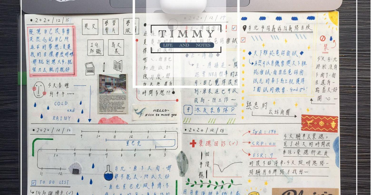 手帳紀錄:天天下雨的台北其實自己一直都有在記錄手帳,但是很追求完美的我,版面沒有到完美是不會輕易放上